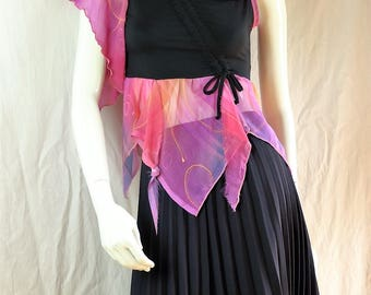 Upcycled t shirt summer crop top Gypsy bohemian tank tops Asymmetrical boho sleeveless pink black cotton top Women refashioned clothing S M