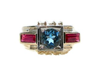 Art Deco Blue Topaz and Synthetic Ruby Ring, Art Deco Blue Topaz Ring, Art Deco Ring, Antique Blue Topaz Ring, Blue Topaz, Art Deco