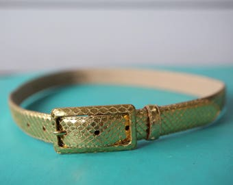 Vintage gold reptile skin leather waist belt Size 75/30