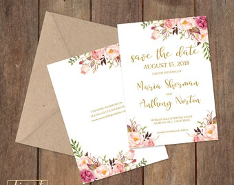 Floral Save the Date Card, Save Our Date Card with pink and burgundy roses and peonies - Maria