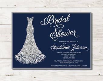Bridal Shower Invitation Printable Navy Bridal Shower dress bridal shower bridal shower invite printable invite printable invitation
