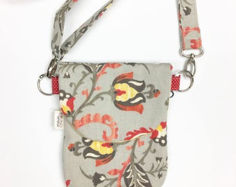 Grey Floral Hip Purse, Crossbody Bag, The HIP Mini, Mini Crossbody Bag, Small Purse, Hip Pack, Women Hip Bag, Small Travel Purse, Small Bag