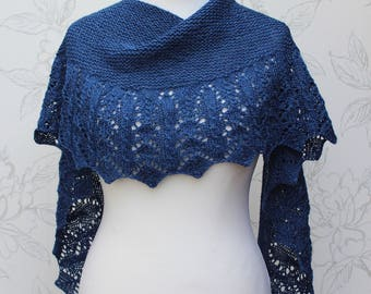 Blue Lace Shawlette, Lace & Cable Shawl, Silk/Cashmere Hand-knit Shawl, Heirloom Lace Shawlette, Warm Blue Lace Scarf, Gift for Her