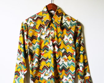Mustard Yellow Crazy Vintage Mod Collared Shirt / Boys Vintage Geometric / Extra Small 70s Geo Top / Disco Baby