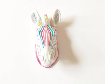 SMALL RAINBOW ZeBRA with SILVER Eyes and Ears Faux Taxidermy small animal head wall mount in Rainbow Stripes Kids room Decor Kids Party
