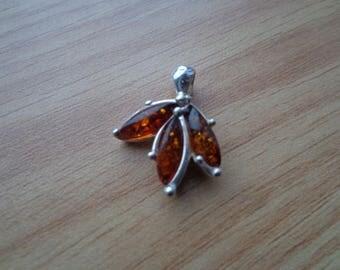 Amber stones / .925 silver pendant.