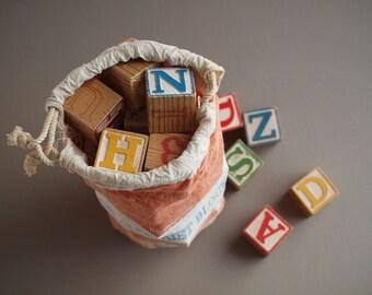 Complete set HALSAM alphabet blocks in original bag  40 wooden blocks 60s  PLAYSKOOL toy blocks durable non-toxic