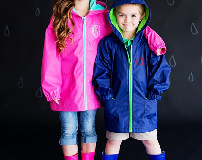 Monogrammed Rain Jacket for Kids, Girls Rain Jacket, Boys Rain Jacket, Monogrammed Rain Jackets for Kids