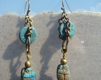 Turquoise Faience Scarab Earrings