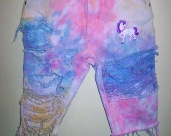 Cotton Candy Marbled Tie Dye Unicorn Bermuda Shorts