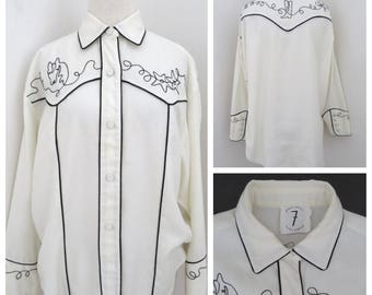 vtg TODD OLDHAM Times Seven embroidered Western Shirt M L cowboy