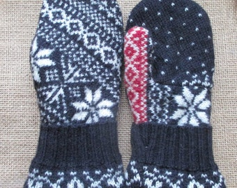 Wool Sweater Mittens - Fleece-lined, Recycled, Felted, WARM Sweater Mittens, Small Women's/young Teen's size - Blue Mittens