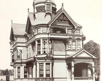Vintage Haas-Lilienthal House Black And White Print / 2007 Franklin St SAN FRANCISCO / Golden Gate Bridge Photo /  12 x 16