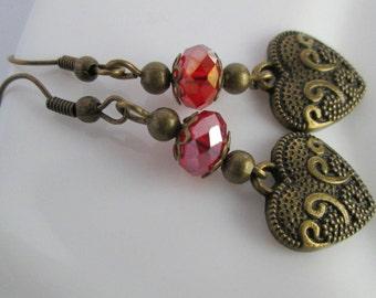 Red Heart Earrings, Red Heart Jewelry, Gift for Women, Ladies Jewellery, Heart Jewelry, Women's Gift Ideas, Birthday Earrings