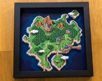 Chrono Trigger Shadowbox - World Map 1000 AD