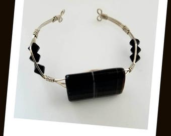 Black Bead Sterling Silver Cuff Bracelet Black Swarovski Crystal Bracelet Wire Wrapped Bracelet Sterling Silver Jewelry Wire Wrap Bracelet