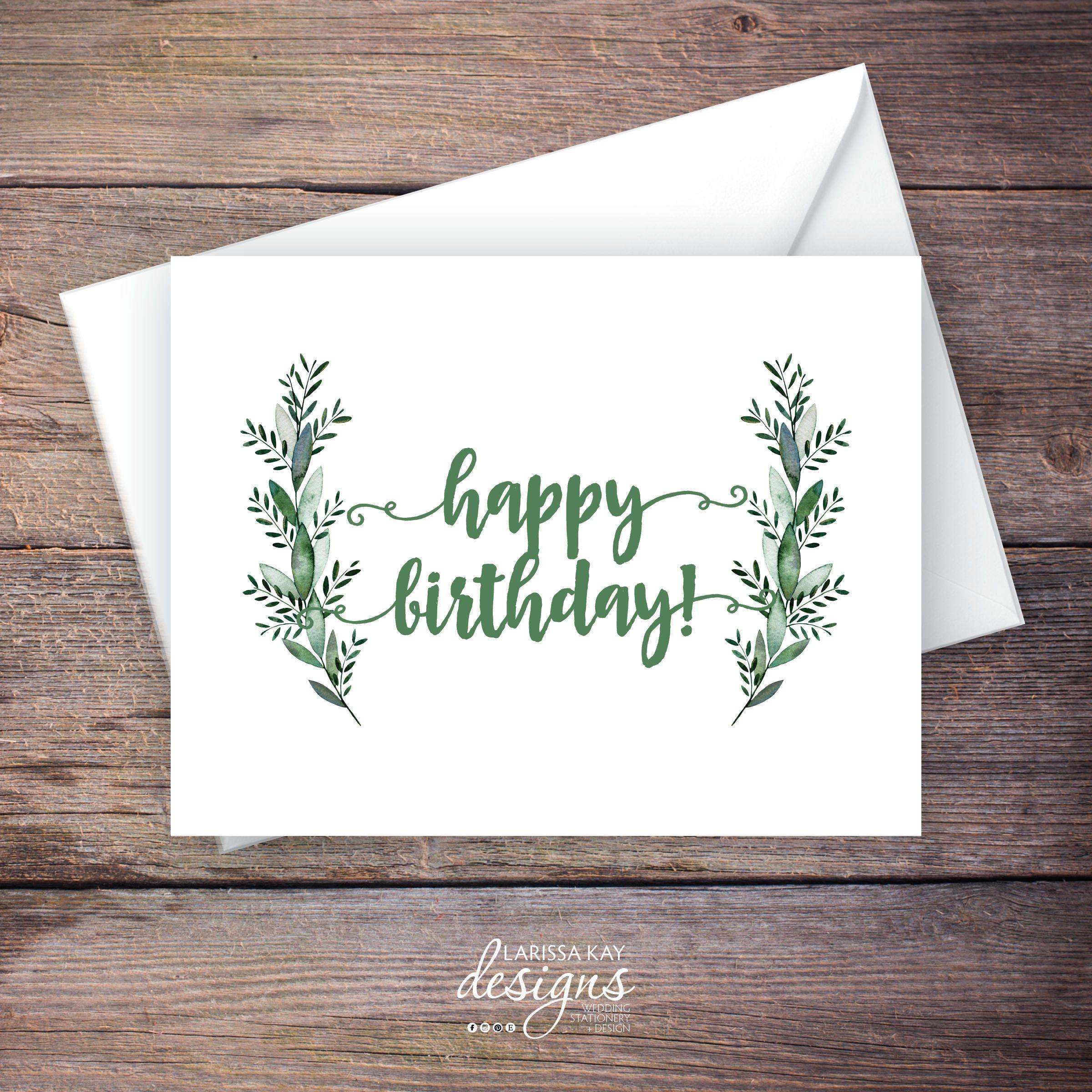 Printable Greenery Happy Birthday Greeting Card Botanical Leaves