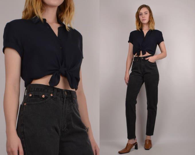 Black Silk Vintage Button Up Shirt