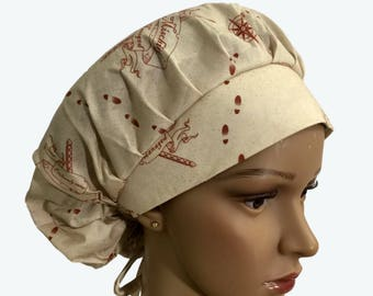 Bouffant Scrub Hat with ties - Harry Potter The Marauder's Map -I Solemnly Swear I am to No Good Ponytail Scrub hat - Custom - Personalized