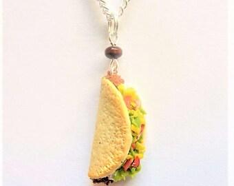 Food Jewelry, Taco Pendant, Taco Necklace, Taco Charm, Miniature Food Jewellery, Taco Jewelry, Mini Food Polymer Clay Food Beef Taco, Kawaii