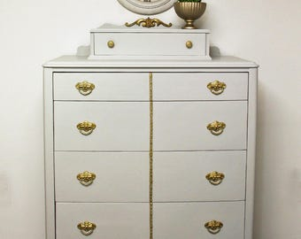 Antique Gentleman's Chest of Drawers, Hand Painted Dresser