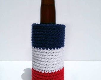 Red White and Blue Striped Beer Cozy, Crochet Beer Holder