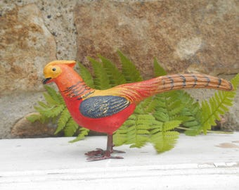 Vintage Bird Pheasant with Long Tail Putz Composition Figurine Miniature Composite with Lead Metal Feet Colorful Feathers