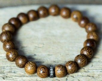 Wood Bead Bracelet, Crystal Bracelet, Beaded Bracelet, Simple Bracelet, Boho Bracelets, Stack Bracelets, Stretch Bracelets, Tribal Bracelets