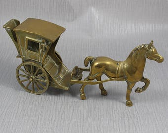 Large Heavy Freestanding Solid Brass Horse and Cart Pony and Trap Ornament