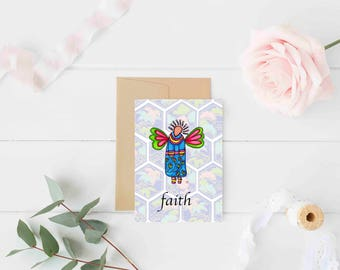 "Greeting Card ""Faith"" / Wedding Bridal Engagement Anniversary / Baptism Baby Shower Girl Angel Wings Christmas Card / Print at Home Artwork"