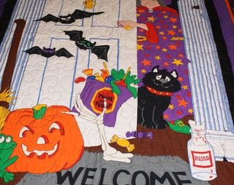 Halloween Quilt called 'Witch Door?'.
