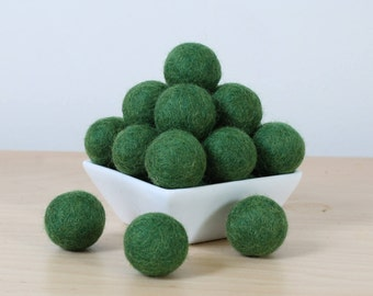 Felt Balls: FOREST GREEN, Felted Balls, DIY Garland Kit, Wool Felt Balls, Felt Pom Pom, Handmade Felt Balls, Green Felt Balls, Green Pom Pom
