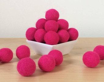 Felt Balls: HOT PINK, Felted Balls, DIY Garland Kit, Wool Felt Balls, Felt Pom Pom, Handmade Felt Balls, Pink Felt Balls, Pink Pom Poms