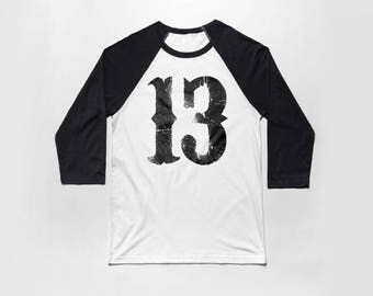 Number 13 3/4 Sleeve Baseball T Shirt - Vintage Cotton/Poly Blend Apparel For Men & Women - Thirteen