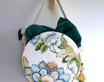 MISS G. Circle shaped top handle bag. Nature green and blue flower leave embroidery print handbag. Style153G. Ready to ship