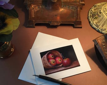 Notecards Basket of Apples ACEO Print Six Blank Photo Pocket Note Cards