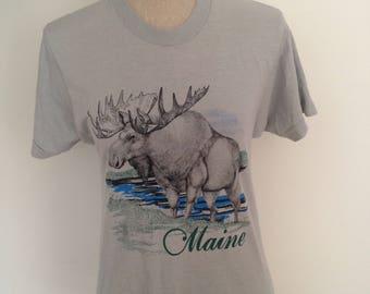 Vintage early 80s Maine Moose Tshirt