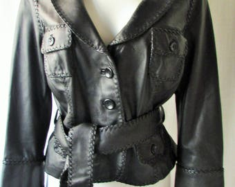 BEBE Black Leather Jacket button up belted front