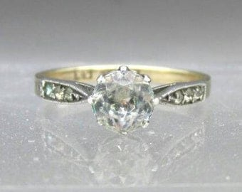 Antique Paste Engagement Ring, Edwardian Era Engagement Ring, Antique Engagement Ring