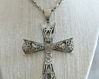 Large Silver Filigree Cross Pendant with Chain