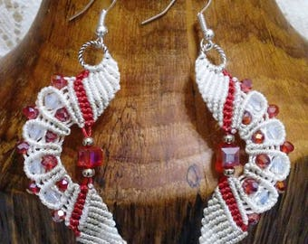 Beaded  Micro Macrame Earrings  Red and White