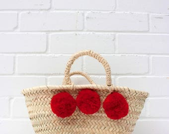 Pom Pom Basket - Handwoven Mini Palm Leaf Basket with Red Pom Poms - Boho Chic Summer Accessory