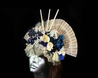 Geisha Bridal Headpiece, Swarovski® crystals Cosplay Accessories, Lace Wedding Headpiece, Oriental Fascinator, Flower Headdress, Fantasy Hat