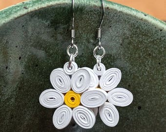 Daisy Paper Quilling Flower Earrings | First Paper Anniversary Gift for Her | Stainless Steel Hypoallergenic for Sensitive Ears