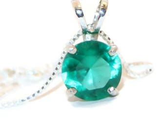 Emerald Necklace, Sterling Silver Pendant Necklace, Emerald Pendant, Lab Created Emerald
