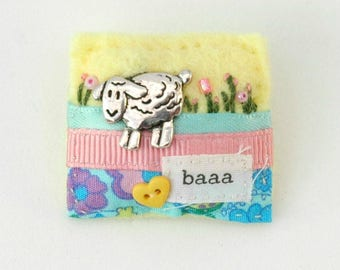 sheep brooch, animal brooch pin, sheep jewellery, baaa, farmyard lamb gift, nature inspired, unique fun jewellery, pretty cute gift ideas