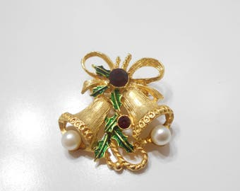 Vintage Double Christmas Bells Brooch (355) Faux Pearl Clappers