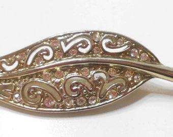 Vintage Silvery Tone Rhinestone Leaf Brooch (954) Sparkly Rhinestones
