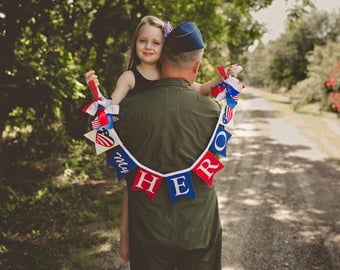 My Daddy is My HERO / 4th of JULY Banner /  4th of July decor / Patriotic banner / Patriotic decor / USA banner / Fourth of July banner