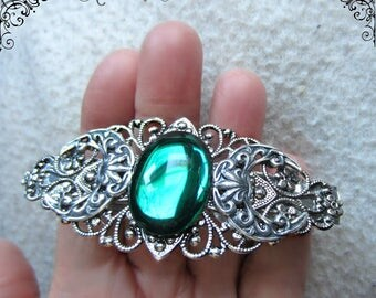 Triple Moon Hair Clip, Triple Goddess Barette, Hand Made Emerald Barrette, Hair Clip Made in France, Amethyst, Blue